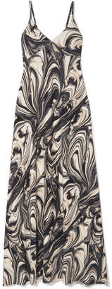 Norma Kamali Printed Stretch-jersey Maxi Dress - Dark gray