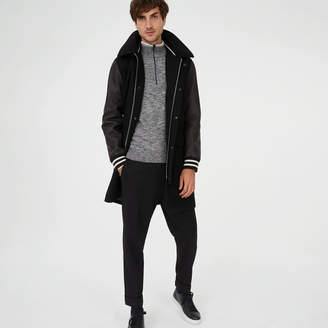 Club Monaco Leather Sleeve Varsity Coat