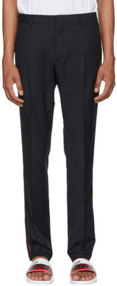 Valentino Navy Wool and Mohair Side Stripe Trousers