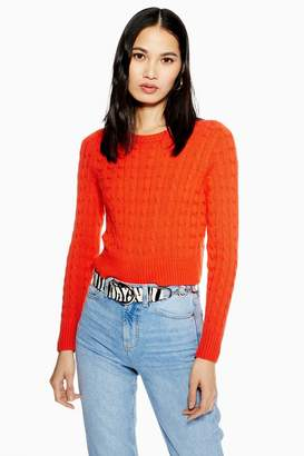 Topshop Cable Crop Jumper with Cashmere
