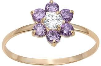 Junior Jewels Cubic Zirconia 14k Gold Flower Ring - Kids