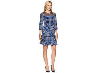 Donna Morgan Lace Yoke Plaid Fit and Flare