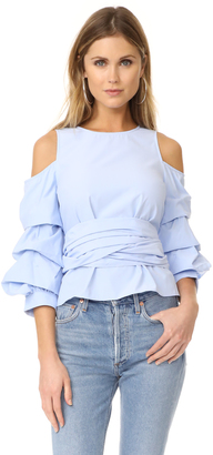 J.O.A. Cold Shoulder Ruffle Sleeve Top $80 thestylecure.com