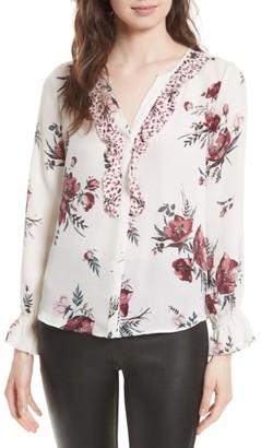 Women's Joie Jayann B Ruffle Front Floral Silk Blouse