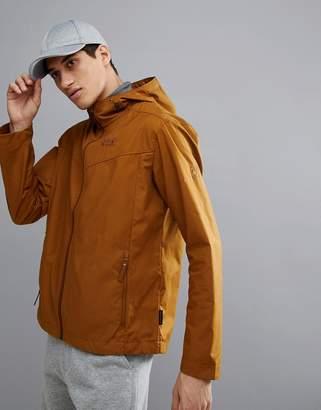 Jack Wolfskin Amber Road Hooded Jacket In Dark Tan