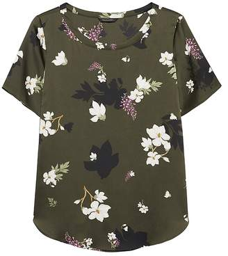 Banana Republic Petite Floral High-Low Curved Hem Top
