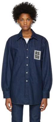 Raf Simons Navy Denim Logo Patch Shirt