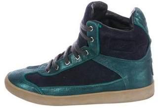 Tory Burch Metallic High-Top Sneakers