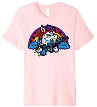 Funny Cute Machine Gun Gorilla Warfare Unicorn Tee T Shirt