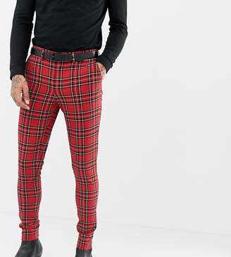 Heart & Dagger super skinny suit PANTS in red plaid check