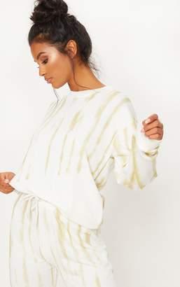 PrettyLittleThing Cream Tie Dye Oversized Sweater