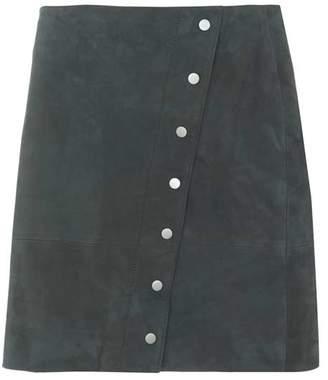 Mint Velvet Khaki Suede Popper Mini Skirt