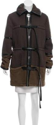 Balenciaga Leather-Trimmed Knee-Length Coat