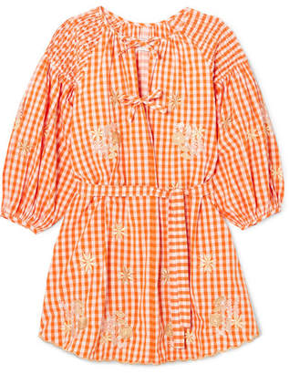 Innika Choo - Smocked Embroidered Gingham Cotton Mini Dress - Orange