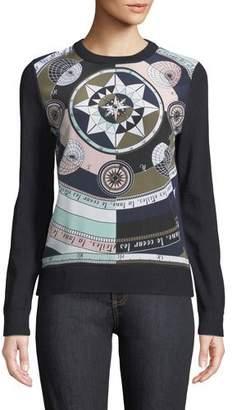 Tory Burch Constellation Pattern Silk Sweater
