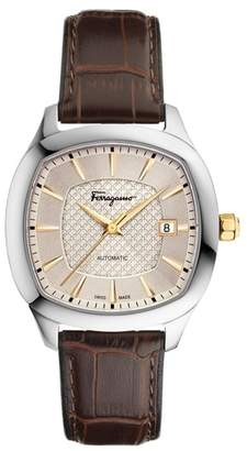 Salvatore Ferragamo Square Automatic Leather Strap Watch, 41mm