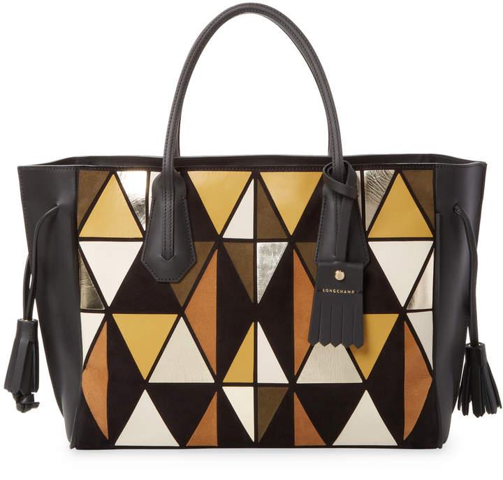 Longchamp Women's Geometric Leather Tote - MULTI - STYLE