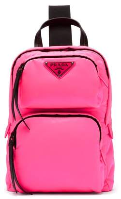 Prada Leather Trimmed Nylon Backpack - Womens - Pink