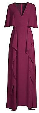 BCBGMAXAZRIA Women's V-Neck Flounce Maxi Dress - Size 0