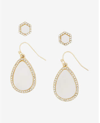 Express Set Of Two Embellished Teardrop And Stud Earrings $29.90 thestylecure.com