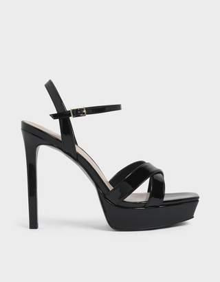 Charles & Keith Criss Cross Ankle Strap Metallic Platform Heels