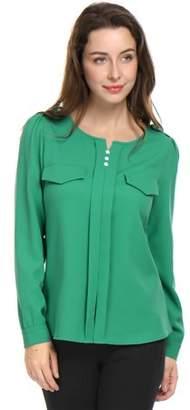 Unique Bargains Women Split Neck Long Sleeve Button Decor Ruched Shirt