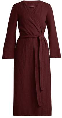 Once Milano - Bell Sleeve Linen Robe - Womens - Burgundy