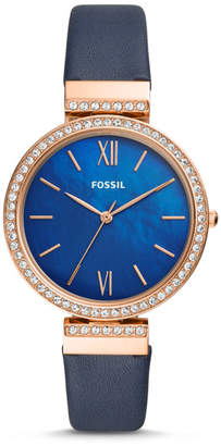 Fossil Madeline Three-Hand Navy Leather Watch