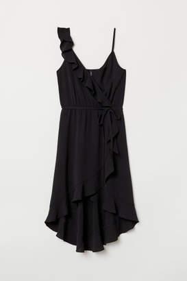 H&M Flounced Wrap Dress - Black