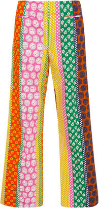 ALEXACHUNG Cropped Printed Cotton-Jersey Pants