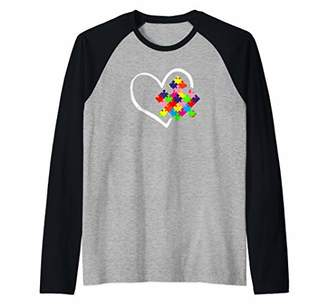 Autism Awareness Day Puzzle Love Autistic Mom and Dad Gift Raglan Baseball Tee
