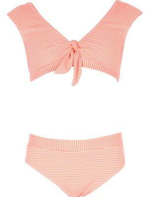 River Island Girls coral stripe knot front tankini set