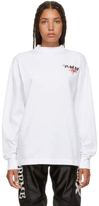 Palm Angels White Racing Logo Long Sleeve T-Shirt