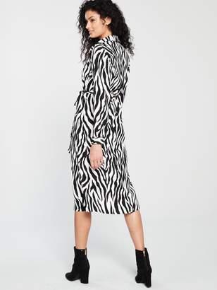 Wallis Printed Buttoned Shirt Belted Dress - Zebra