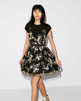 Express Petite Embroidered Lace Fit And Flare Dress