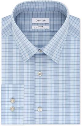 Calvin Klein Men Steel Slim-Fit Non-Iron Performance Stretch Blue Check Dress Shirt