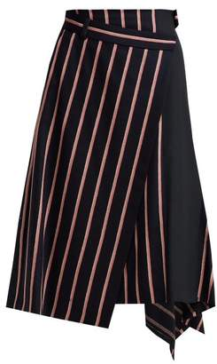 Sportmax Striped Virgin Wool Midi Skirt - Womens - Navy Multi
