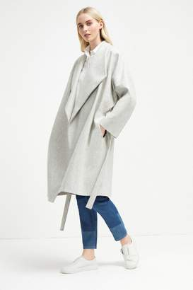 French Connenction Platform Felt Drop Shoulder Wrap Coat