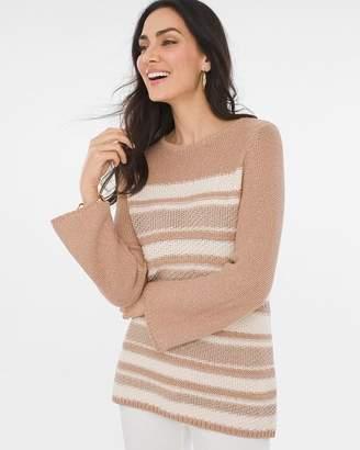 Chico's Chicos Striped Shine Pullover Sweater