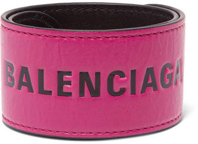 Balenciaga - Cycle Printed Textured-leather Bracelet - Pink