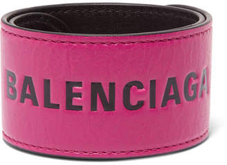 Balenciaga Cycle Printed Textured-leather Bracelet - Pink