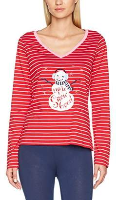 Hatley Little Blue House Women's Long Sleeve Pyjama Tees Top,Medium