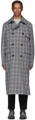 Acne Studios Beige and Blue Check Oversized Coat