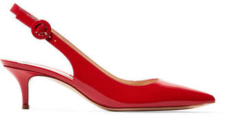 Gianvito Rossi Anna 55 Patent-leather Slingback Pumps - Red