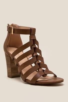 francesca's Bellah Caged Block Heel - Tan