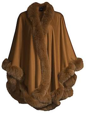 Sofia Cashmere Women's Fox Fur Trim Cashmere Cape