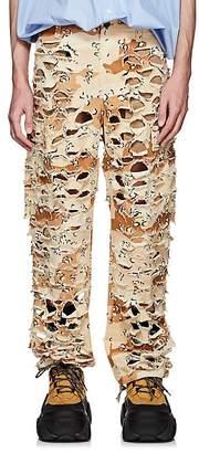 Vetements Men's Camouflage Shredded Cotton Cargo Pants
