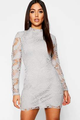 boohoo Lace High Neck Long Sleeve Bodycon Dress