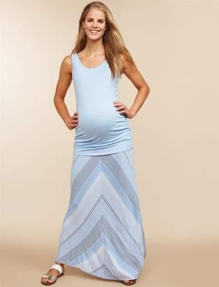 Motherhood Maternity Fold Over Belly Printed Maternity Maxi Skirt