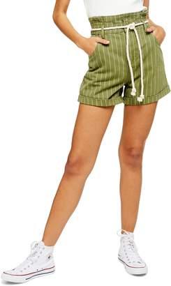 Topshop Stripe Rope Belt Paperbag Shorts